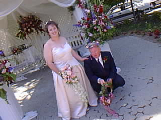 Image of Cheri and Jim right after the ceremony and in between posing for the photographer